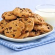 Milk and chocolate chip cookies - Stock Photo