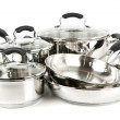 Stainless steel pots and pans — Stock Photo
