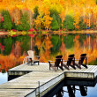 Wooden dock on autumn lake — Stock fotografie #4518771