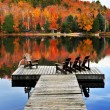 Wooden dock on autumn lake — Stock fotografie #4518777