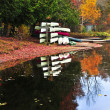 Fall forest reflections with canoes — Stock Photo #4518795