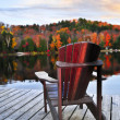 Wooden dock on autumn lake — Stock fotografie #4518796