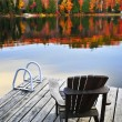Wooden dock on autumn lake — Stock fotografie #4518797