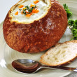 Soup in bread bowl — Stock Photo #4519793