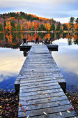 Wooden dock on autumn lake — Stok fotoğraf