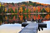 Cais de madeira no lago de outono — Foto Stock