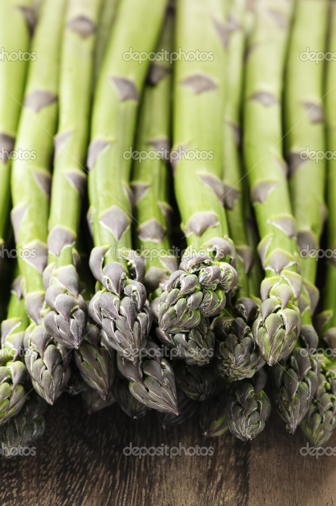 Close up of fresh green organic asparagus  Stock Photo #4518042