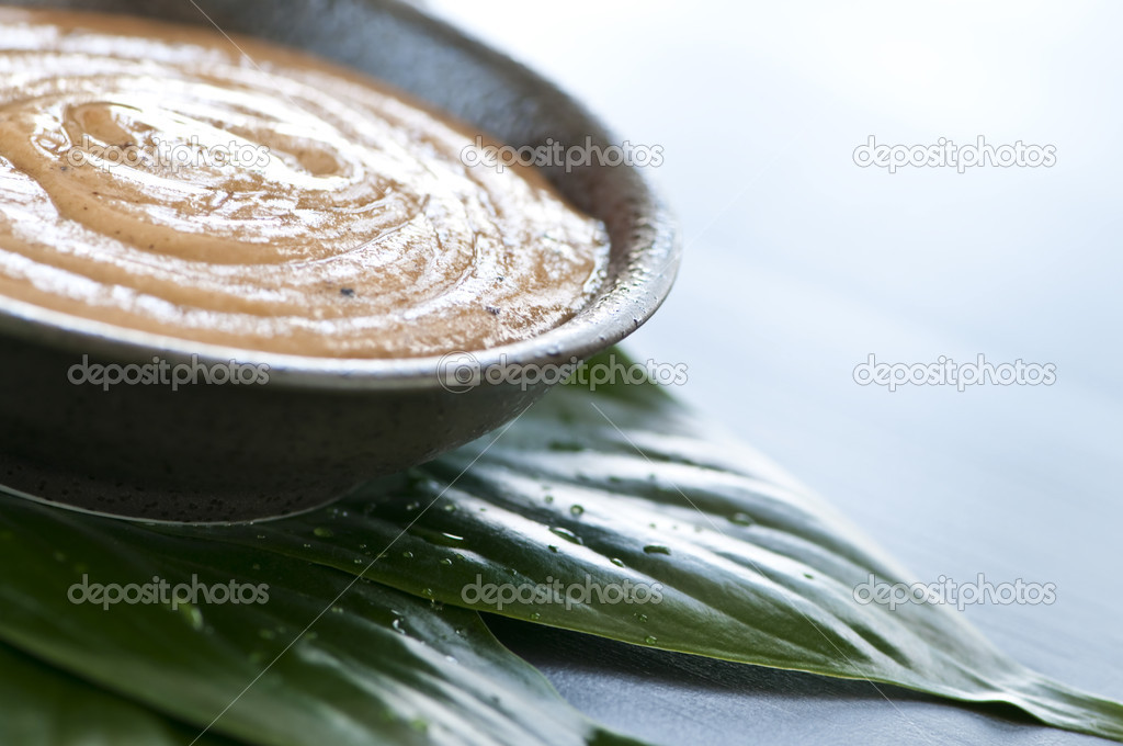Natural body care green tea scrub closeup — Stock Photo #4518186