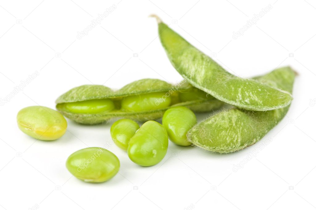 Edamame soy beans shelled and with pods — Stock Photo #4519815