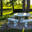 Benches overlooking vineyard - Stock Photo