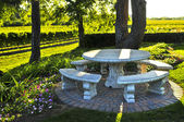 Benches overlooking vineyard — Stock Photo