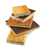 前完成的硬木地板样品 — 图库照片