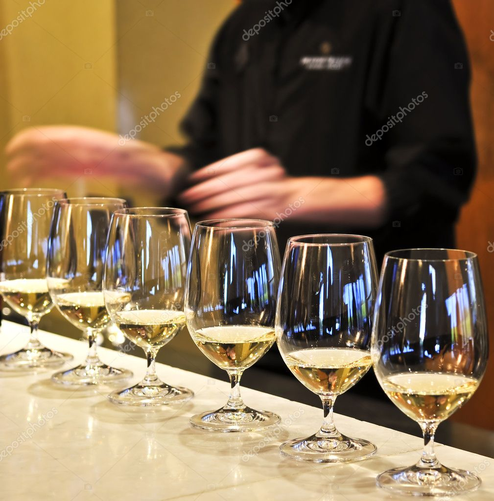 Row of white wine glasses in winery tasting event  Stock Photo #4520281