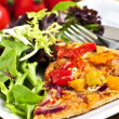 Vegetarian pizza with salad — Stock Photo