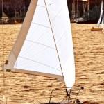 Sailboat at sunset — Stock Photo