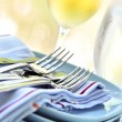 Stock Photo: Plates and cutlery