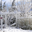 Front yard of a house in winter - Stock Photo