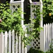 Stock Photo: White arbor in garden