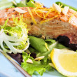 Salad with grilled salmon — Stock Photo