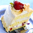 Slice of strawberry meringue cake — Stock Photo