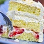 Slice of strawberry meringue cake — Stock Photo #4569936