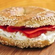 Bagel with smoked salmon and cream cheese — Stock Photo #4569978