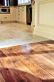 Hardwood and tile floor — Stock Photo