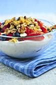 Yogurt with berries and granola — Stock Photo