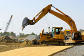 Construction site machines — Stock Photo