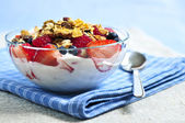 Yogurt with berries and granola — Stock Photo