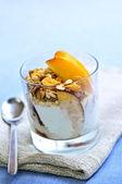 Serving of yogurt and granola — Stock Photo