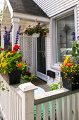 House porch with flower boxes — Stock Photo