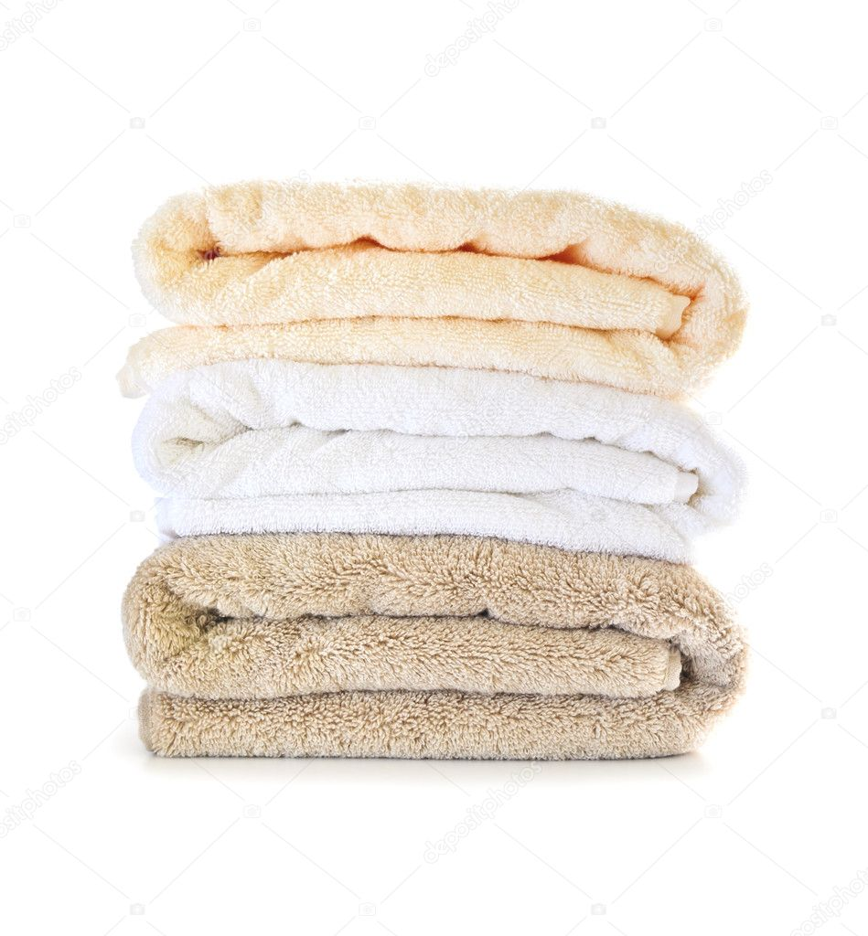 Stack of soft towels isolated on white background  Stock Photo #4566726