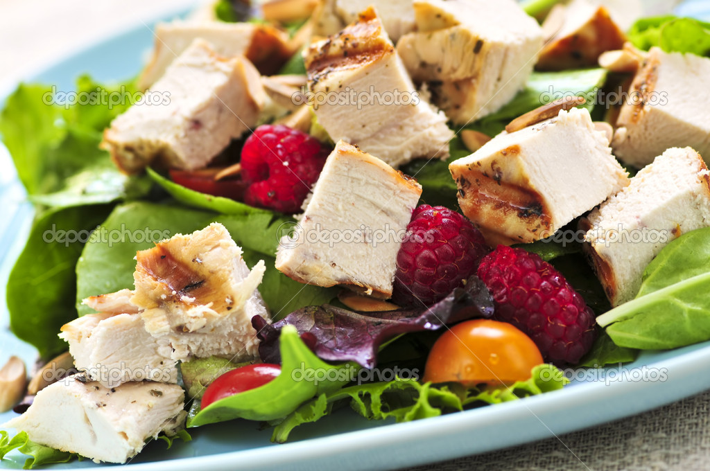 Healthy green salad with grilled chicken breast  Stock Photo #4569882