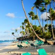 Sandy beach of tropical resort — Stock Photo