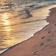 Footprints on sandy beach at sunrise — Stock Photo