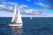 Sailboats at sea — Stock Photo