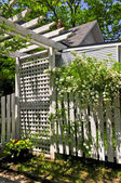 White trellis in a garden — Stock Photo