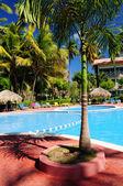 Swimming pool hotel at tropical resort — Stock Photo
