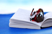 Sunglasses and book on beach chair — Stock Photo