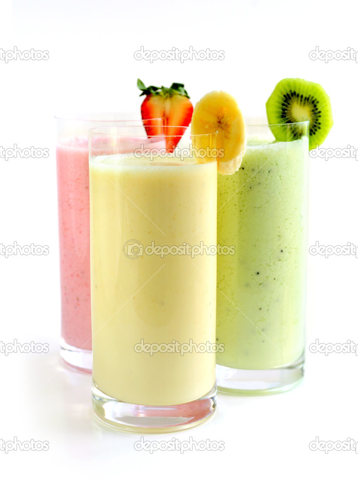 Various fruit smoothies isolated on white background — Stock Photo #4636369