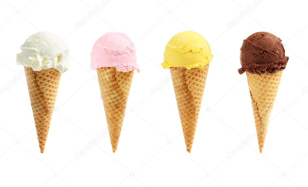 Assorted ice cream in sugar cones isolated on white background — Stock Photo #4636585