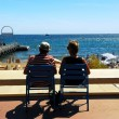 Couple relaxing in chairs in Cannes — Stock Photo #4641737