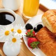 Breakfast served on tray — Stock Photo #4642371