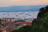 St.Tropez harbor at sunset — Stock Photo