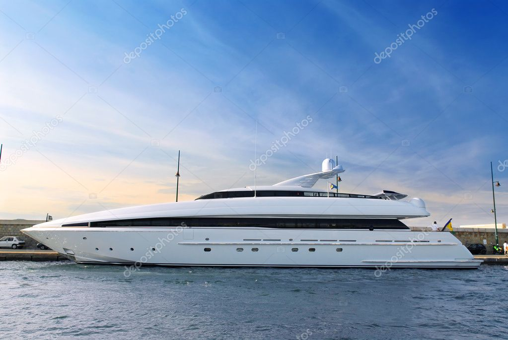 Large luxury yacht anchored at St. Tropez in French Riviera  Stock Photo #4641836