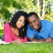 Happy couple in park — Stock Photo