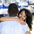 Happy woman hugging man — Stock Photo