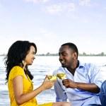 Happy couple having wine on beach — Stock Photo #4718463