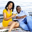 Happy couple having wine on beach — Stock Photo #4718467